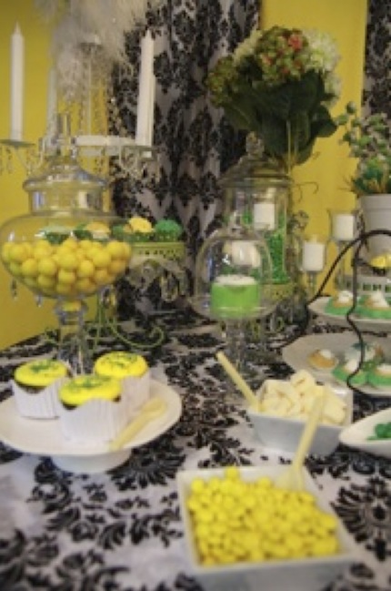 candy buffet table yellow