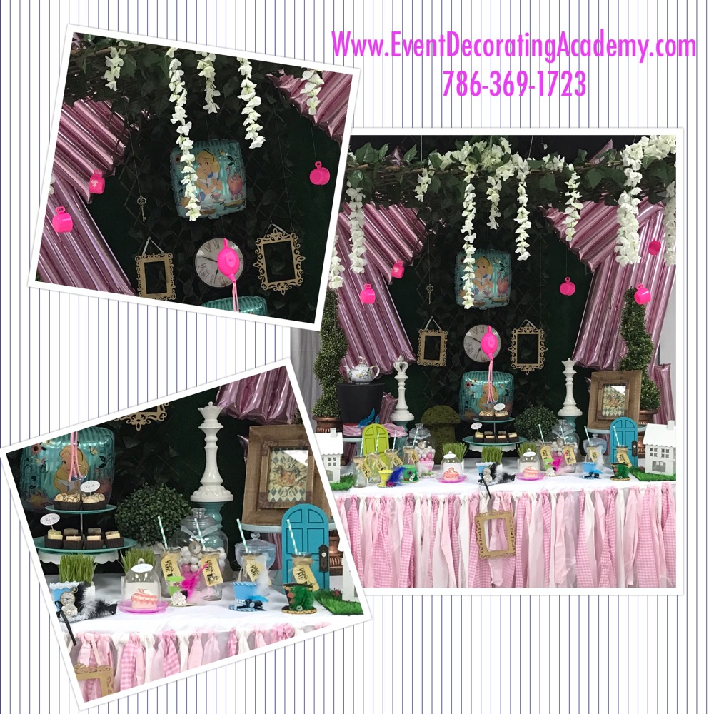 candy buffet table collage